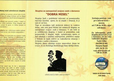 DPU, 2010, Skupina za samopomoč svojcev oseb z demenco DOBRA MISEL, Izdano ob 30 letnici Doma, predstavitvena zloženka 3b