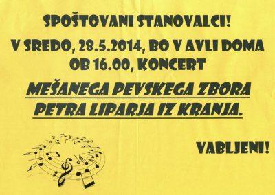 DPU, 2014, Koncert mešanega pevskega zbora Petra Liparja iz Kranja, plakat 3